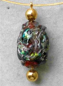 Detail Image for art Lampwork glass necklace gold