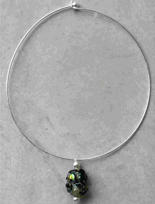 Art: Lampwork glass necklace silver by Artist Deborah Sprague