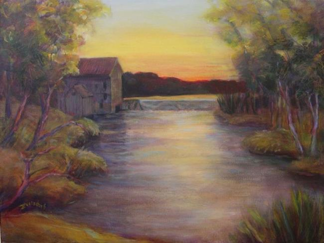 Art: The Old Mill on the River (sold) by Artist Virginia Ann Zuelsdorf