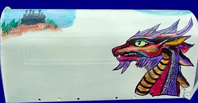 Art: Dragon head Mailbox by Artist Dia Spriggs