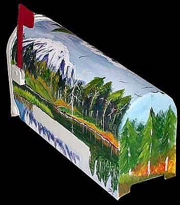 Art: Mountain Scenery Mailbox by Artist Dia Spriggs