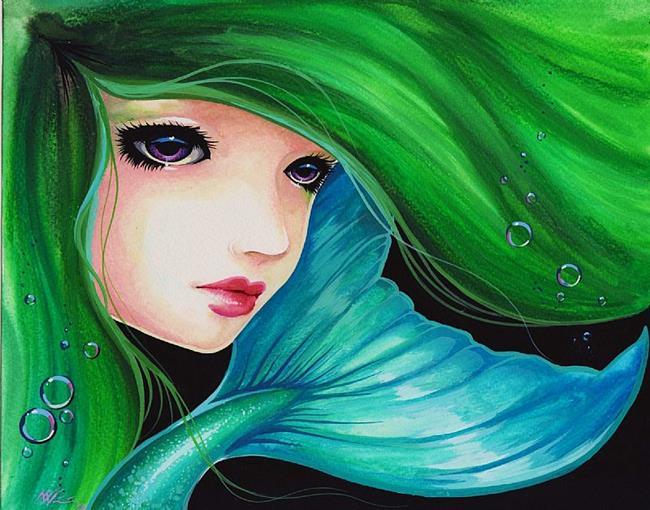 Art: Lavender Eyes and Emerald Hair by Artist Nico Niemi