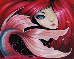Art: Dark Mermaid Child by Artist Nico Niemi