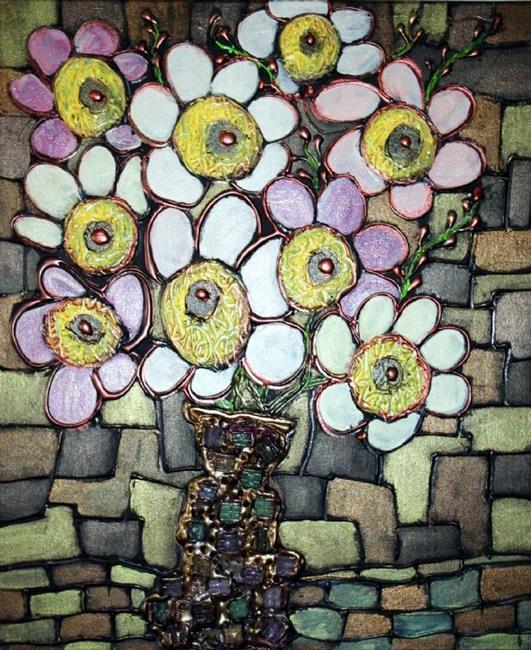 Art: RETRO CHIC BOUQUET-GLASS MOSAIC TILES VASE by Artist LUIZA VIZOLI