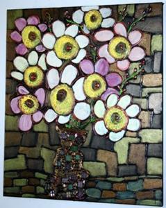 Detail Image for art RETRO CHIC BOUQUET-GLASS MOSAIC TILES VASE