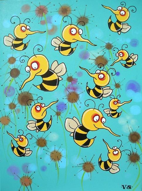 Art: Buzzing Bees by Artist Veronique Perron