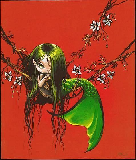Art: Mermaid in Vines by Artist Nico Niemi