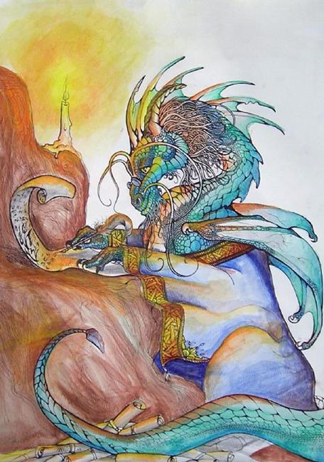 Art: Dragon and Scrolls by Artist Nico Niemi