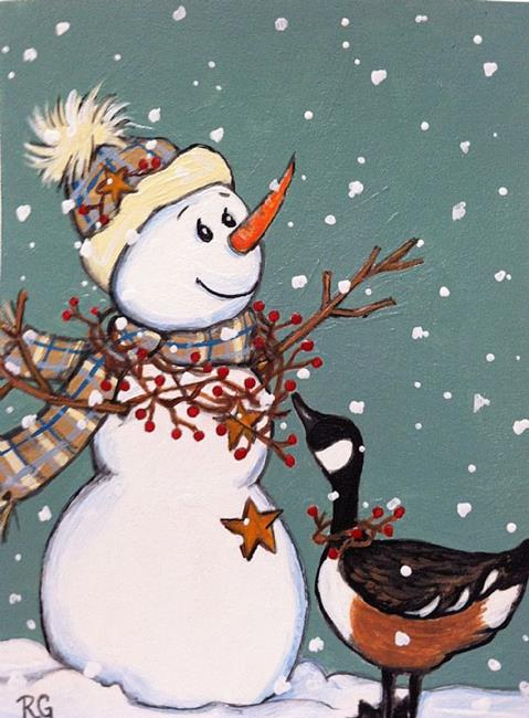 Art: country snowman by Artist Rhonda Gilbert
