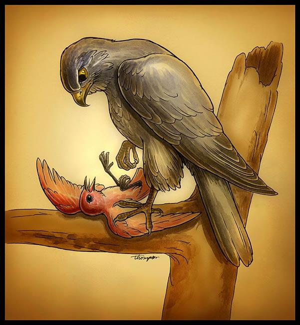 Art: The Hawk and the Nightingale by Artist John Thompson