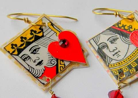 Art: King and Queen of Hearts earrings with Swarovski flat backs and 6mm Crystal by Artist pamela jean lacasse