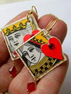 Detail Image for art King and Queen of Hearts earrings with Swarovski flat backs and 6mm Crystal