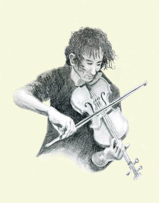 Art: Young Man Playing Fiddle by Artist Naquaiya