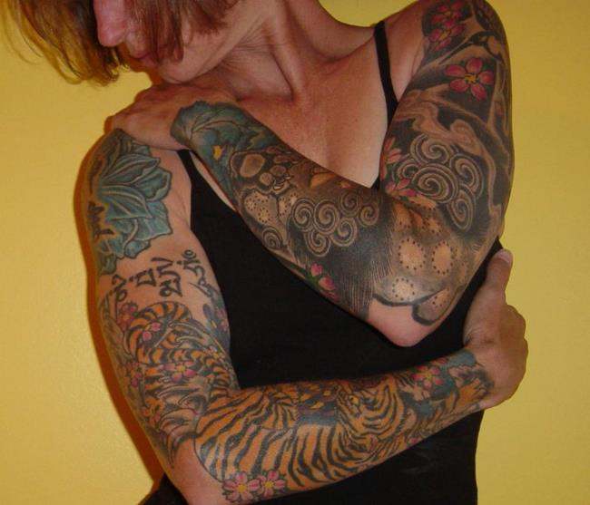 Art: Self Portrait with Tattoo Sleeves by Artist Tracey Allyn Greene