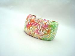 Art: Bright polymer clay Cuff Bracelet by Artist pamela jean lacasse