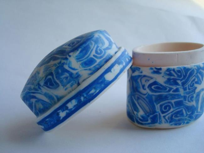 Art: Polymer clay Little Blue Box by Artist pamela jean lacasse