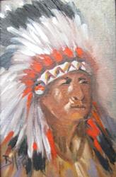 Art: Head Study  Old Indian Chief by Artist Barbara Haviland