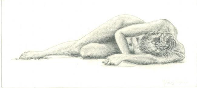 Art: Nude on the Beach by Artist Marina Owens