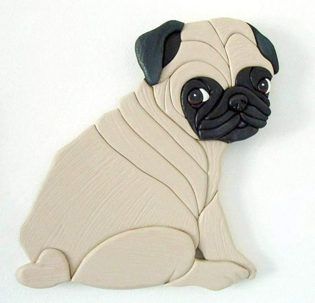 Art: Pug Puppy 2 Original Painted Intarsia Art by Artist Gina Stern