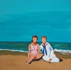 Art: retro beach girl with sailor boy by Artist Amie R Gillingham