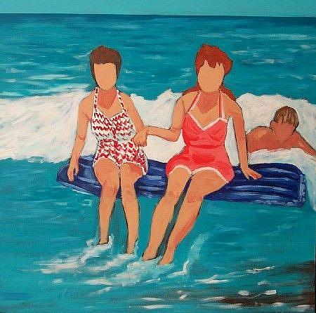Art: bathing beauties w/ body surfer by Artist Amie R Gillingham