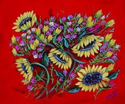 Art: Sunflowers on Red by Diane Funderburg Deam
