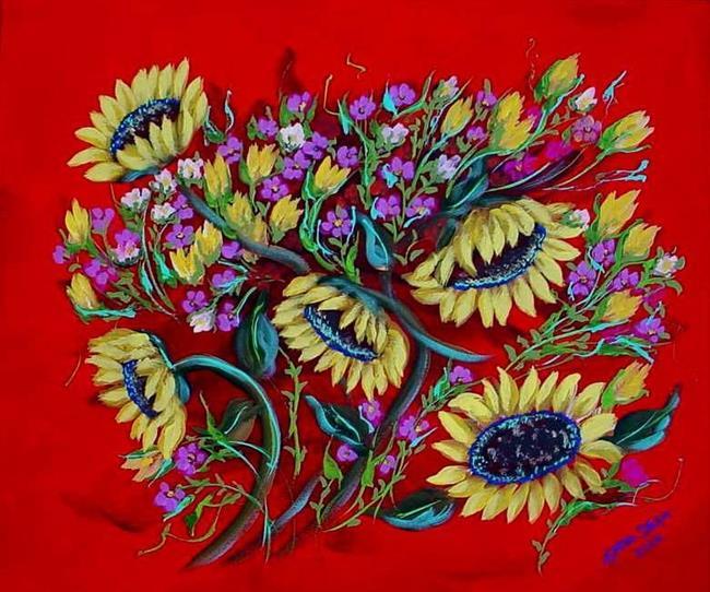 Art: Sunflowers on Red by Artist Diane Funderburg Deam