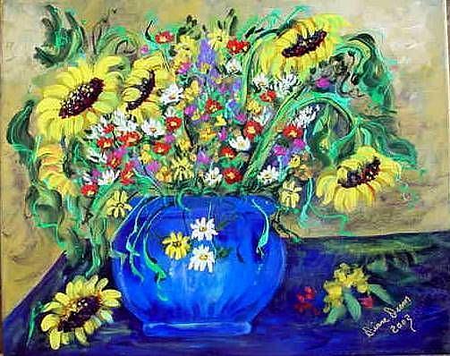 Art: Sunflowers#19 by Artist Diane Funderburg Deam