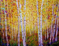 Art: Long Park Yellow Aspens by Diane Funderburg Deam