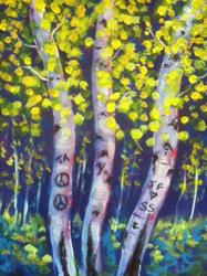 Art: Moonlight Aspens by Artist Diane Funderburg Deam
