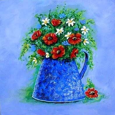 Art: Flowers in Granite Pot by Artist Diane Funderburg Deam