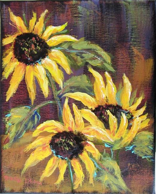 Art: Three Sunflowers by Artist Diane Funderburg Deam