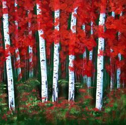 Art: Red Arizona Aspens by Artist Diane Funderburg Deam