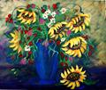 Art: Sunflowers in Vase by Artist Diane Funderburg Deam