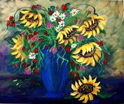Art: Sunflowers in Vase by Artist Diane Funderburg Deam