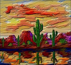 Art: Twisted Brush Desert by Artist Diane Funderburg Deam