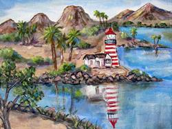 Art: Light House at State Park by Artist Diane Funderburg Deam
