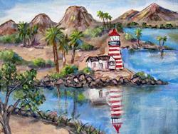 Art: Light House at State Park by Artist Diane Funderburg Deam