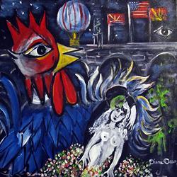 Art: Chagall Wedding at London Bridge by Artist Diane Funderburg Deam