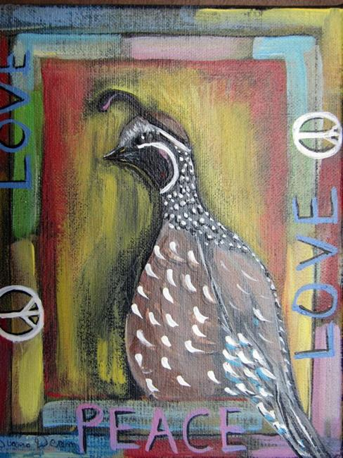 Art: Peace and Love Quail by Artist Diane Funderburg Deam