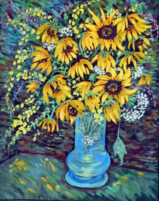 Art: Friday's Sunflowers by Artist Diane Funderburg Deam