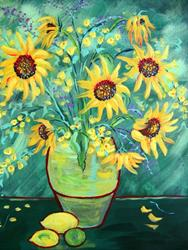 Art: Sunday's Sunflowers with Lemons and Lime by Artist Diane Funderburg Deam