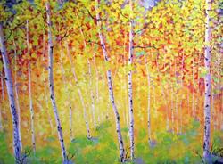 Art: Autumn Aspens by Artist Diane Funderburg Deam