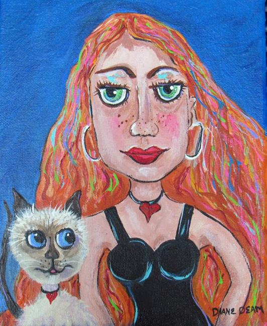 Art: Jessica and Tigger by Artist Diane Funderburg Deam