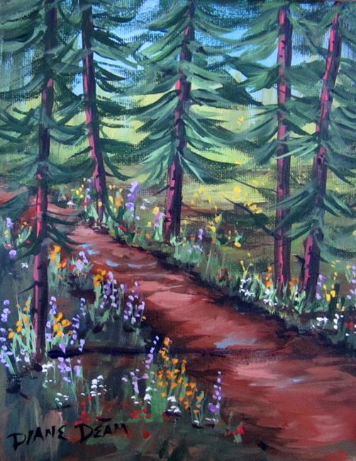 Art: Wildflowers in the Pines by Artist Diane Funderburg Deam