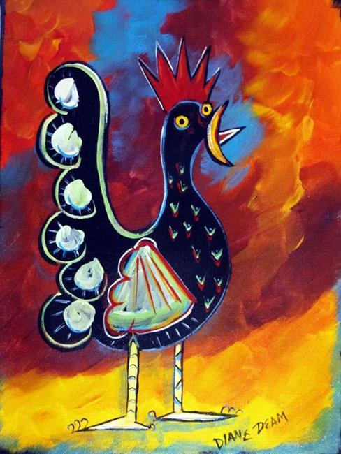 Art: Black n White Rooster 11x14 sm by Artist Diane Funderburg Deam
