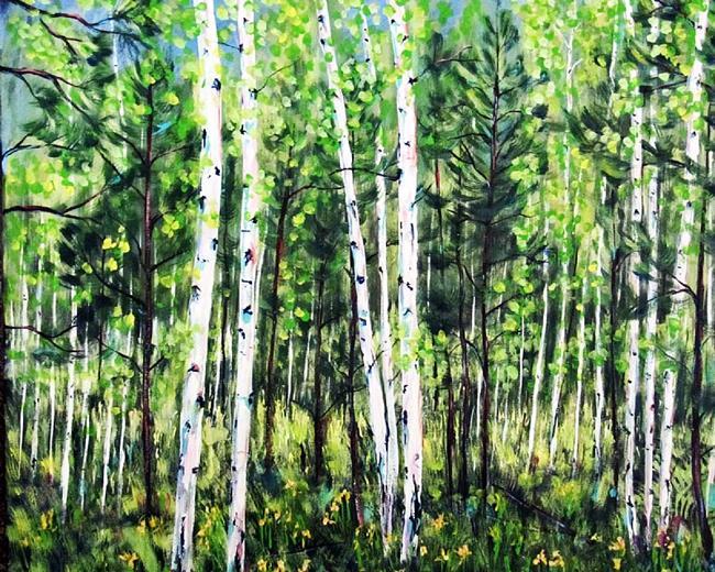 Art: Hart Prarie Aspens by Artist Diane Funderburg Deam