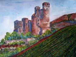 Art: Ehrenfels Castle by Artist Diane Funderburg Deam