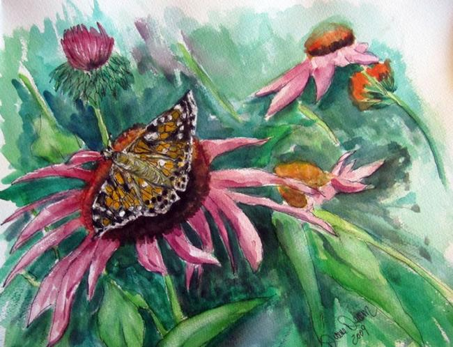 Art: Echinacea with Butterfly by Artist Diane Funderburg Deam