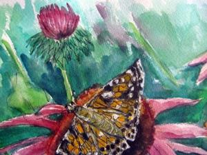 Detail Image for art Echinacea with Butterfly